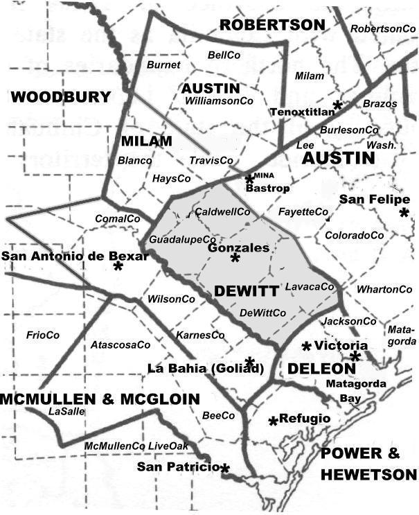 DeWitt Colony and Neighboring GrantsMap