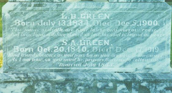 Text on Green Memorial
