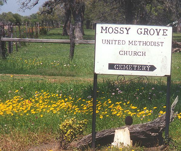Mossy Grove Sign on Road